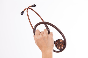 Hand holding a stethoscope isolated on white background (examini