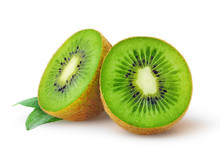 "Постер, картина, фотообои ""Isolated kiwi. One kiwi fruit cut in halves isolated on white background with clipping path"""