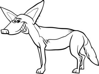 jackal animal cartoon coloring page