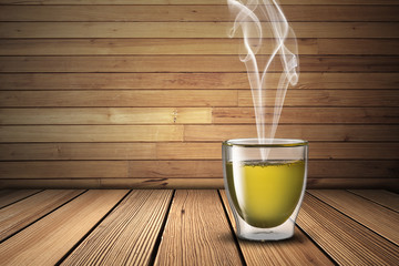 Hot tea on wood table