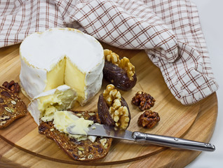 Cheese board with French soft cheese