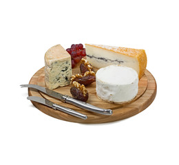 Cheese board with three varieties of french cheese on white back