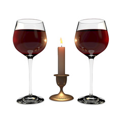 two glasses and  candle