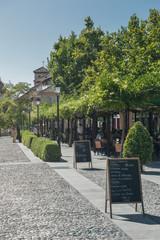 Outdoor cafe boulevard Paseo de los Tristes Granada Spain