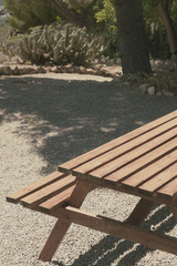 Wooden table park camping picnic zone