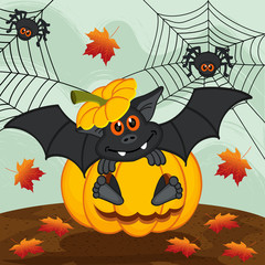 halloween pumpkin bat - vector illustration, eps