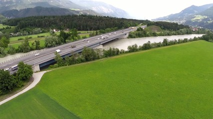 Traffic on a Bridge - Aerial Flight