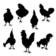 hen and cock silhouettes