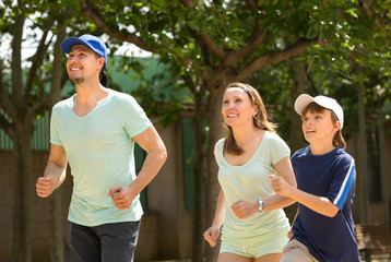 sports family doing running outdoor