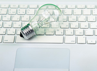 Light bulb and computer keyboard