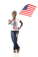 Young Flag-Waving Patriot