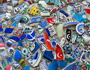 Mosaic of broken tiles wall in Turkey