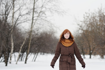 Young woman in winter park