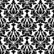 Fototapeta - Black colored floral arabesque seamless pattern