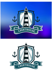 Marine banner with lighthouse and anchor
