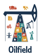 Energy and oil industry flat infographics design