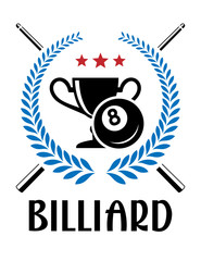 Billiard emblem with laurel wreath