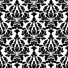 Black colored floral arabesque seamless pattern