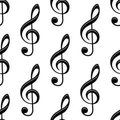 Seamless musical treble clef pattern
