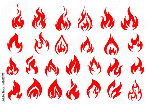 Red fire icons and pictograms set - 68655177