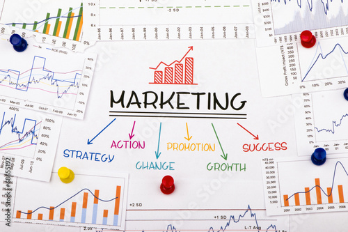 marketing concept with financial graph and chart - 68655192