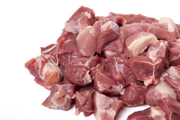 chopped pork beef in pieces