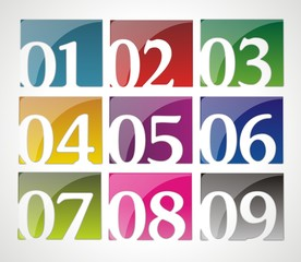 Set of glossy numbers in different colors