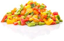 "Постер, картина, фотообои ""Colorful mix chopped capsicums over white background"""