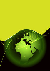 Abstract vector green background with a globe and glow