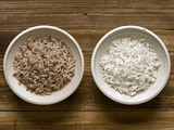 rustic cooked polished and unpolished rice poster