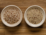 rustic cooked and uncooked unpolished brown rice poster