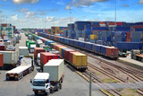 container yard, rail transport in thailand poster