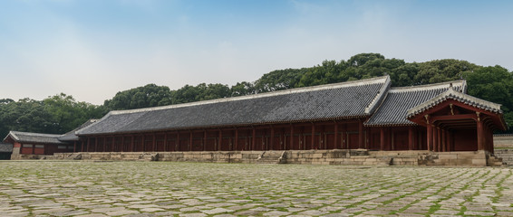 Panorama image of Jongmyo Shrine, Seoul, South Korea