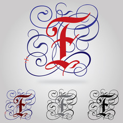 Decorated uppercase Gothic font - Letter F