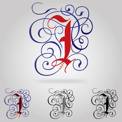 Decorated uppercase Gothic font - Letter I