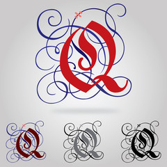 Decorated uppercase Gothic font - Letter Q