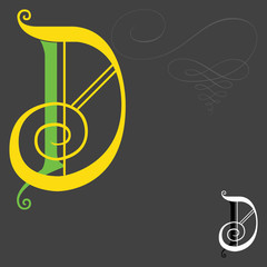 Music style English alphabets - Letter D