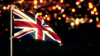 England UK National Flag City Light Night Bokeh Loop Animation