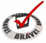 Brave Courageous Confident Check Mark Box Word Ring poster