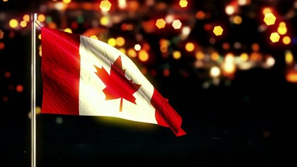 Canada National Flag City Light Night Bokeh Loop Animation