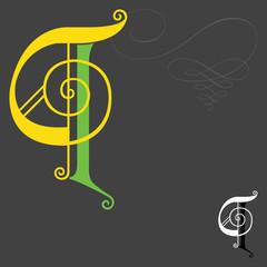 Music style English alphabets - Letter Q