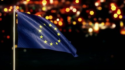 European Flag City Light Night Bokeh Loop Animation