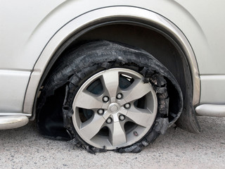 Tyre broken on the road
