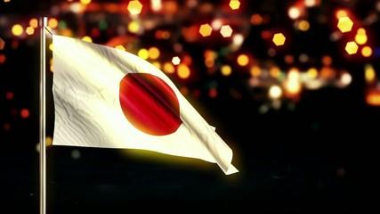 Japan National Flag City Light Night Bokeh Loop Animation