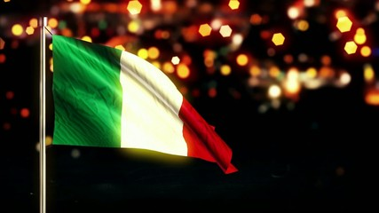 Italy National Flag City Light Night Bokeh Loop Animation