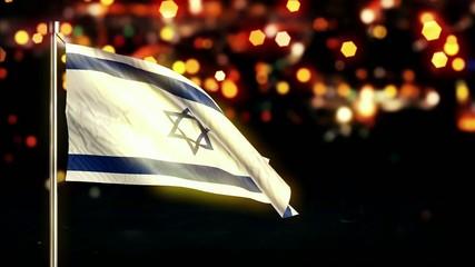Israel National Flag City Light Night Bokeh Loop Animation