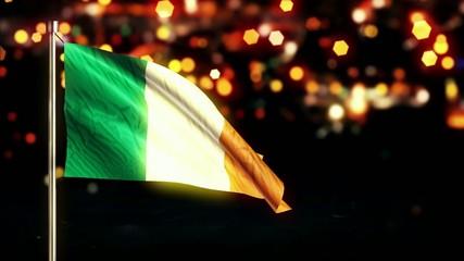 Ireland National Flag City Light Night Bokeh Loop Animation