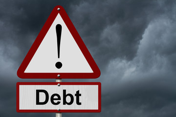 Debt Caution Sign