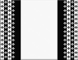 Black and White Fleur De Lis Pattern Textured Fabric with Ribbon
