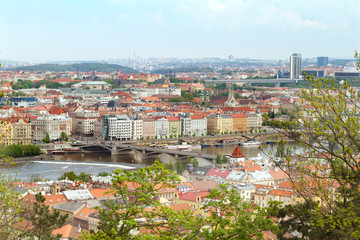 The view of Jiraskuv bridge and Vltava river in Prague